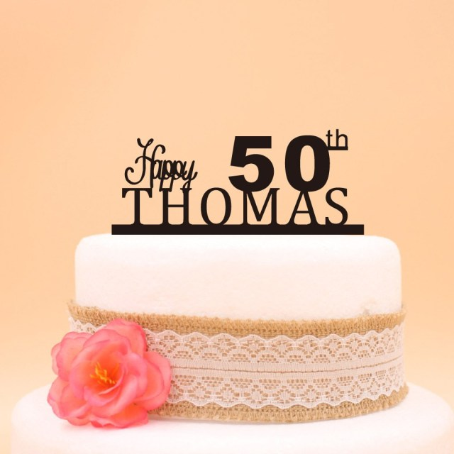 50 Birthday Cake Ideas Glcklich 50th Topper Benutzerdefinierte Name Kuchen
