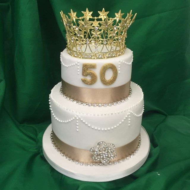 50Th Birthday Cake Images 2 Tier 50th Birthday Cake M Rays Bakery