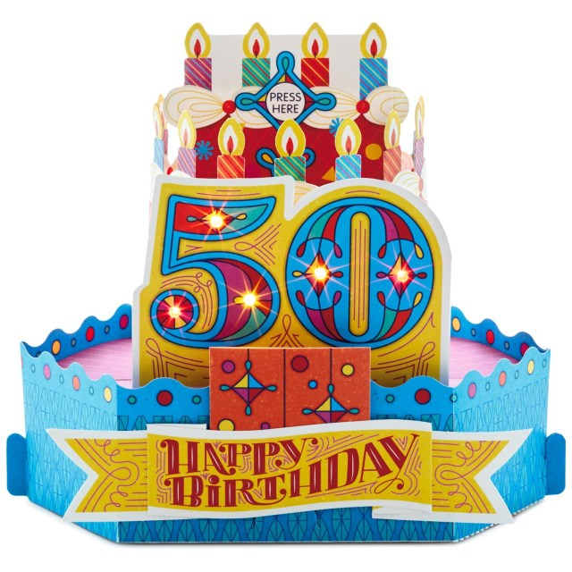 50Th Birthday Cake Images 50th Birthday Cake With Candles Pop Up Musical Birthday Card With