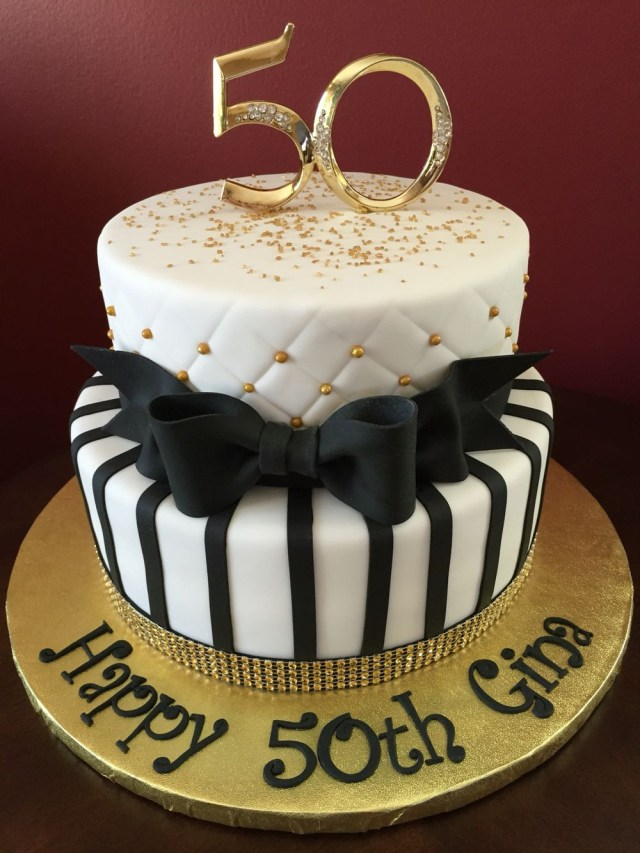 50Th Birthday Cakes Black And Gold 50th Birthday Cake Birthday Cakes Pinterest