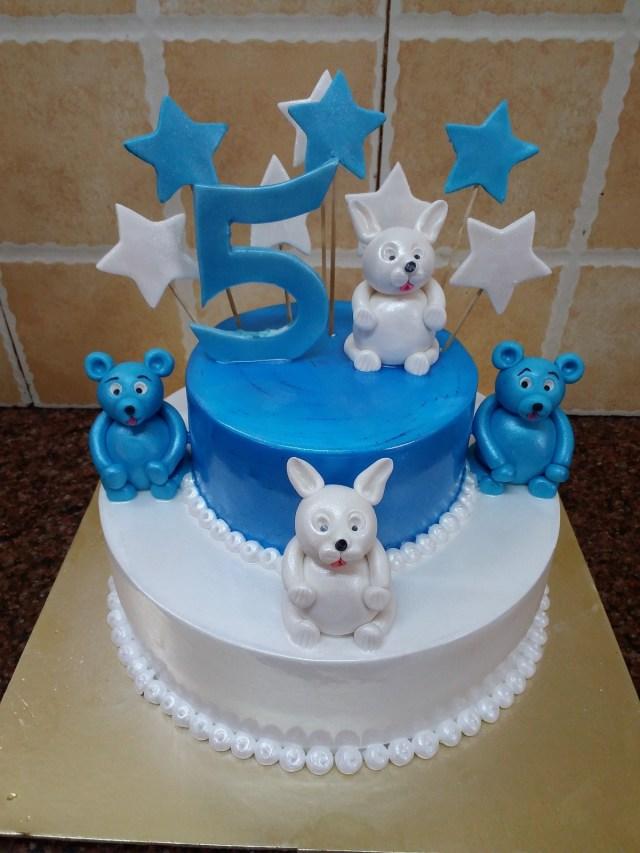 5Th Birthday Cake Two Tier Blue White 5th Birthday Cake Mahalaxmibakers