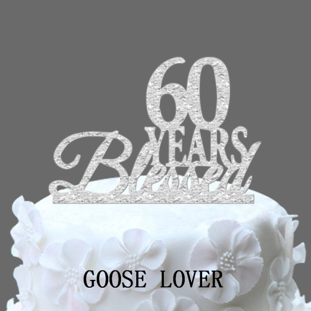 60Th Birthday Cake Toppers 60th Birthdayanniversary Cake Topper Personalized 60 Years Blessed