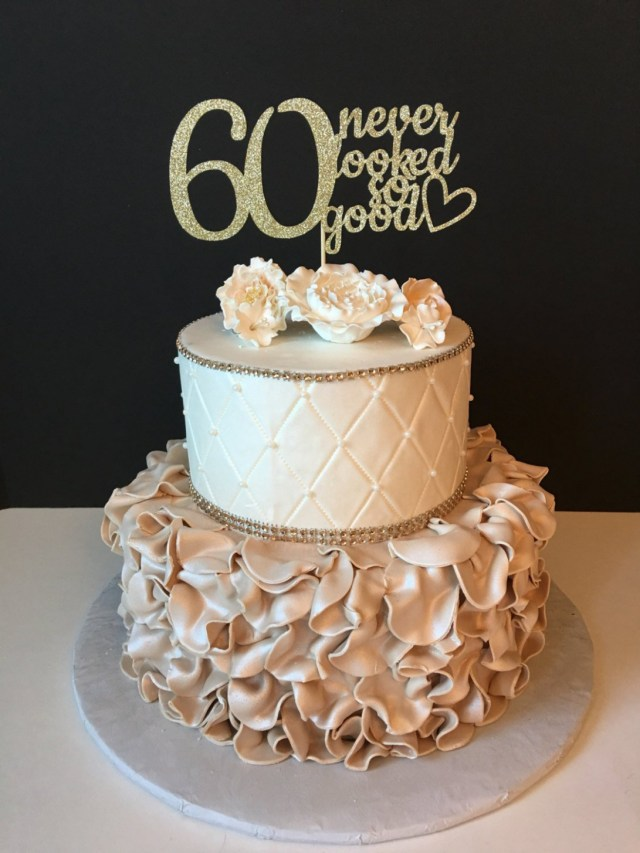 60Th Birthday Cake Toppers Any Number Gold Glitter 60th Birthday Cake Topper 60 Never 60