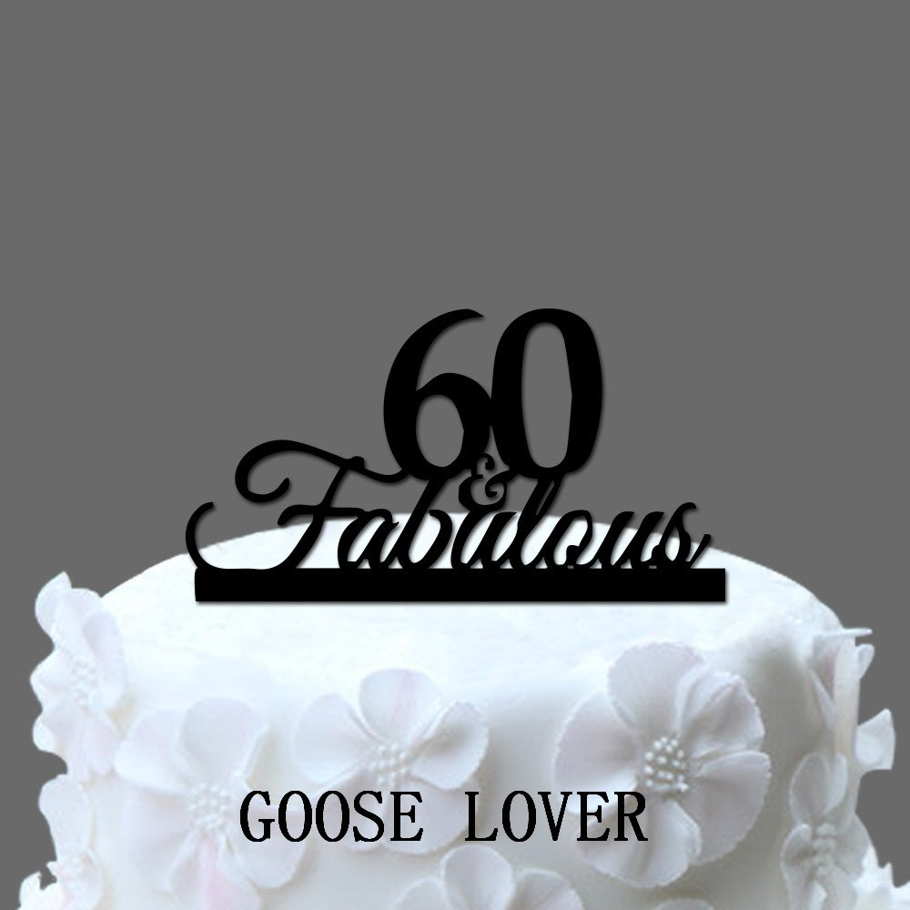 60Th Birthday Cake Toppers Fabulous 60 Decoration 60th Acrylic