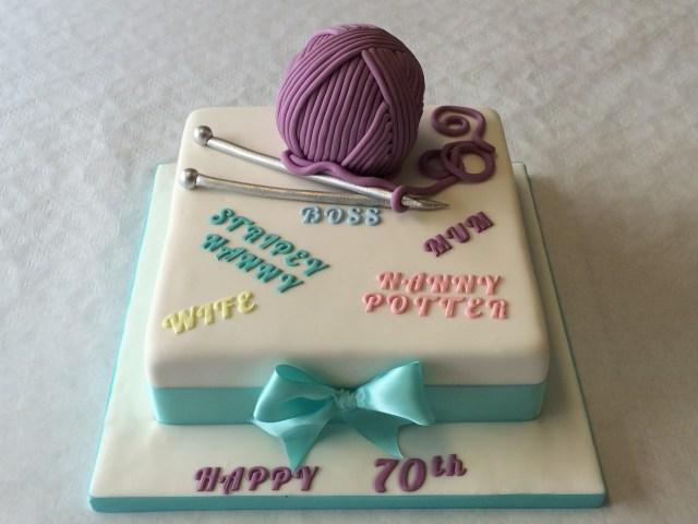 70Th Birthday Cake 70th Birthday Ball Of Wool And Knitting Needles Cake Adult