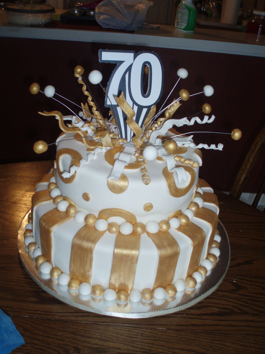 70Th Birthday Cake 70th Fondant Covered White Cakeplease Let Me Know What