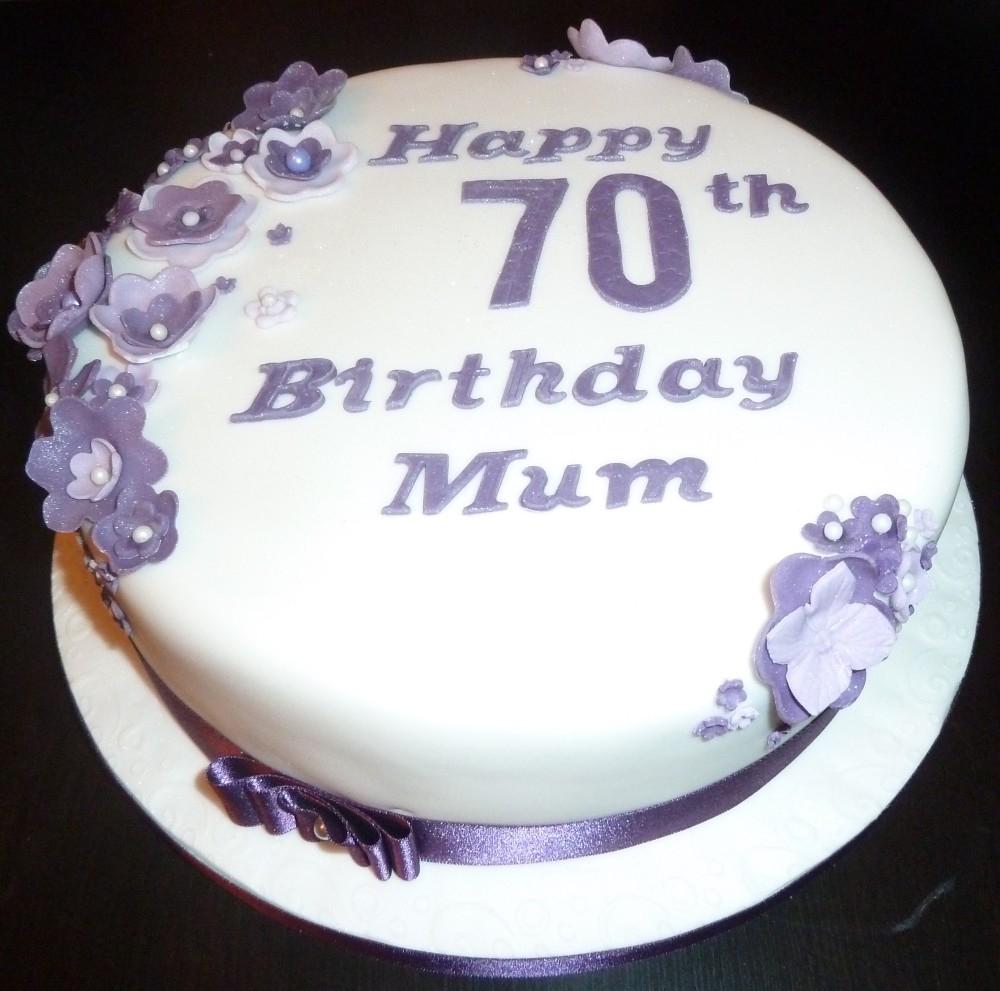 70Th Birthday Cake 70th With Purple Flowers Wedding Cakes