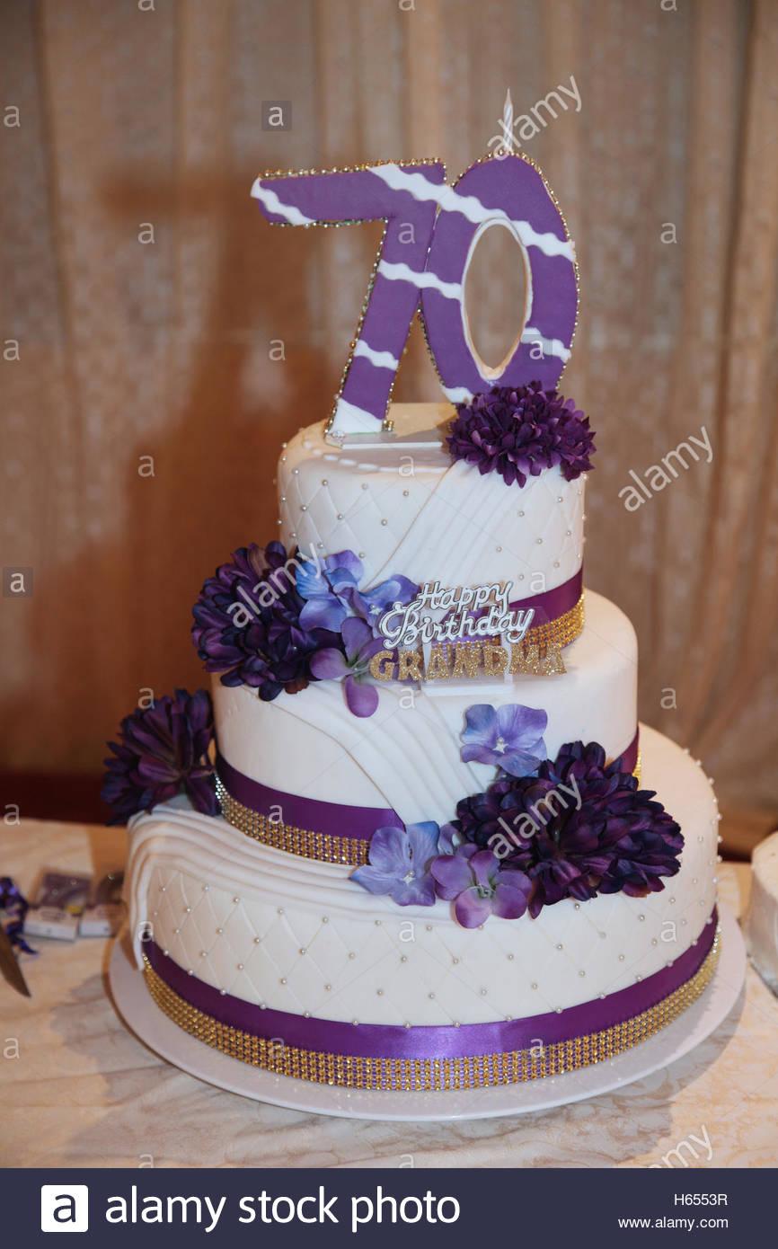 70Th Birthday Cake Fancy Three Tier 70th Birthday Cake Stock Photo 124274299 Alamy