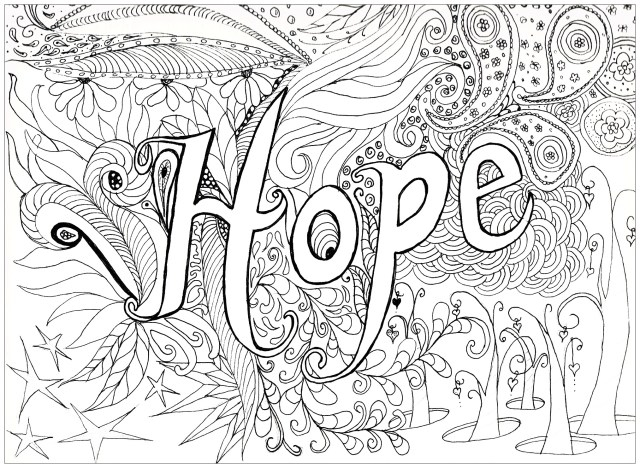Adult Coloring Pages Hope Anti Stress Adult Coloring Pages