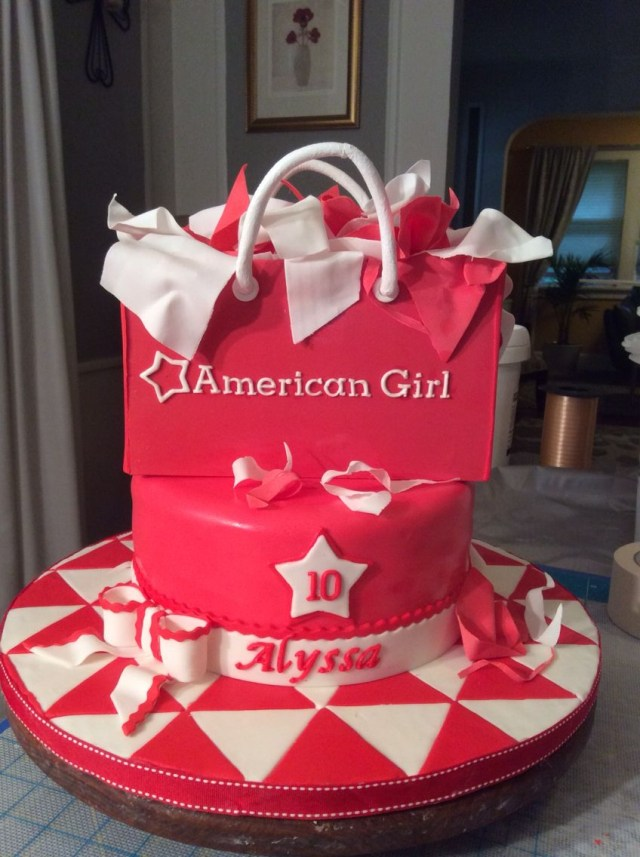 American Girl Birthday Cake American Girl Shopping Bag Cake Birthday Cake Ideas Bag Cake