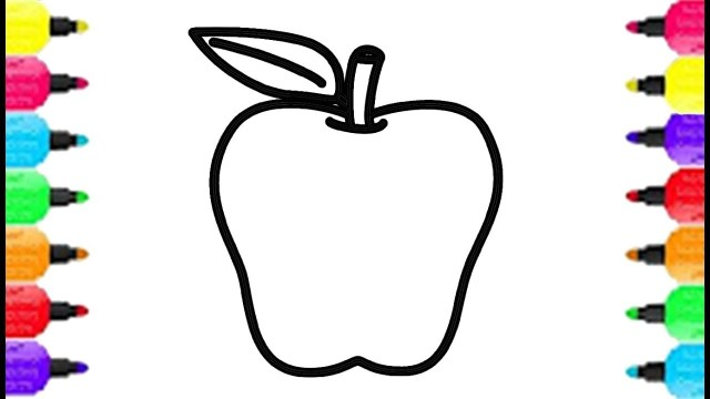 Apple Coloring Pages Big Apple Coloring Pages How To Draw Big Apple And Coloring Rainbow