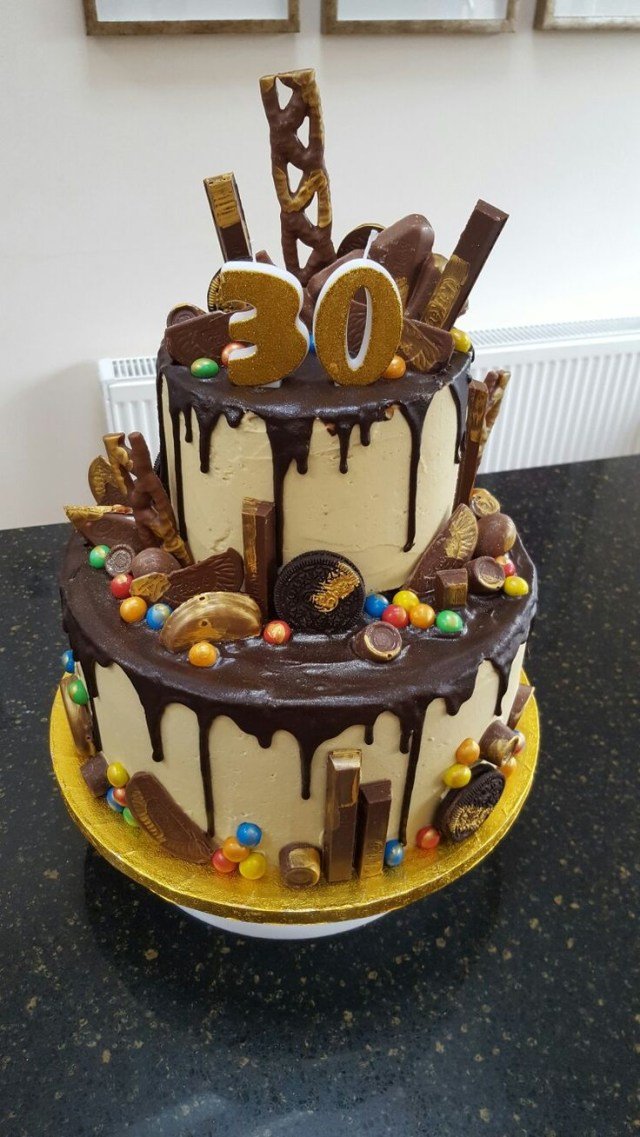 Awesome 30Th Birthday Cakes Two Tier Chocolate Drip 30th Birthday Cake Yuumm 30 Birthday
