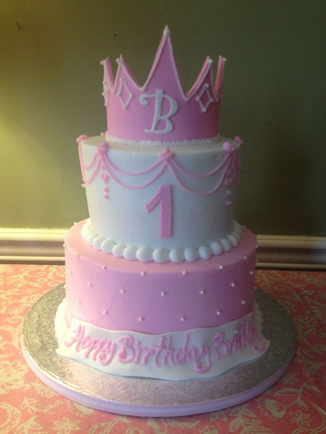 Baby Girl Birthday Cake Ba Girls First Birthday Cake Princess Cake And Crown Pink The