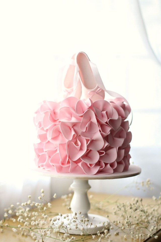 Ballerina Birthday Cake Super Pretty Ballet Birthday Cake With Pink Ruffles And Ballet Shoe