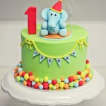 Balloon Birthday Cake A Colourful Circus Themed First Birthday Cake Featuring An Elephant