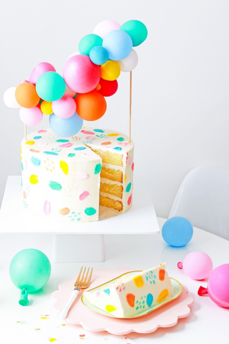 Balloon Birthday Cake Diy Balloon Garland Cake Topper And Tips For Painting Frosting