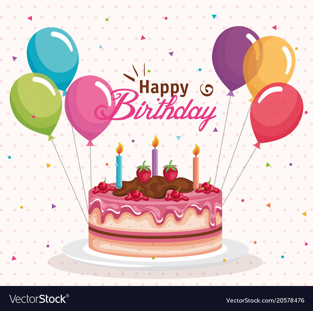 Balloon Birthday Cake Happy Birthday Cake With Balloons Air Celebration Vector Image