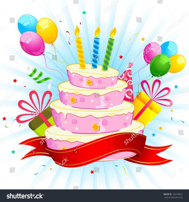 Balloon Birthday Cake Illustration Birthday Cake Bunch Colorful Balloon Stock Vektorgrafik