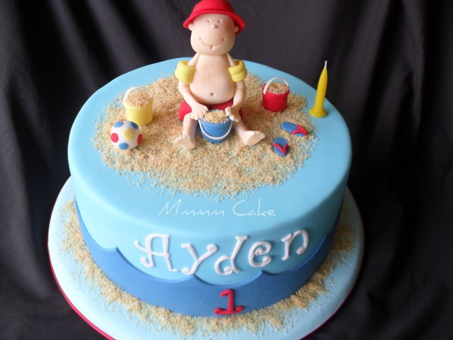 Beach Theme Birthday Cake Beach Theme Cake Aydens 1st Birthday Cake Beach Theme Flickr
