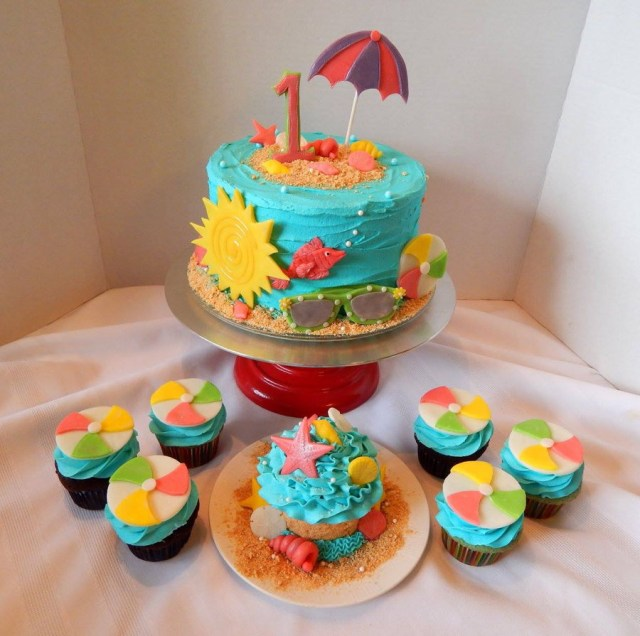 Beach Theme Birthday Cake Beach Themed First Birthday Cake And Cupcakes Cakecentral