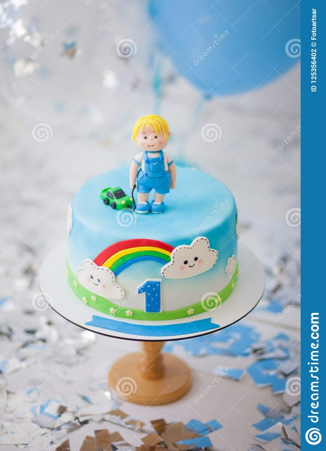 Birthday Cake Boy Birthday Cake For A Boy For 1 Year Stock Photo Image Of Birthday