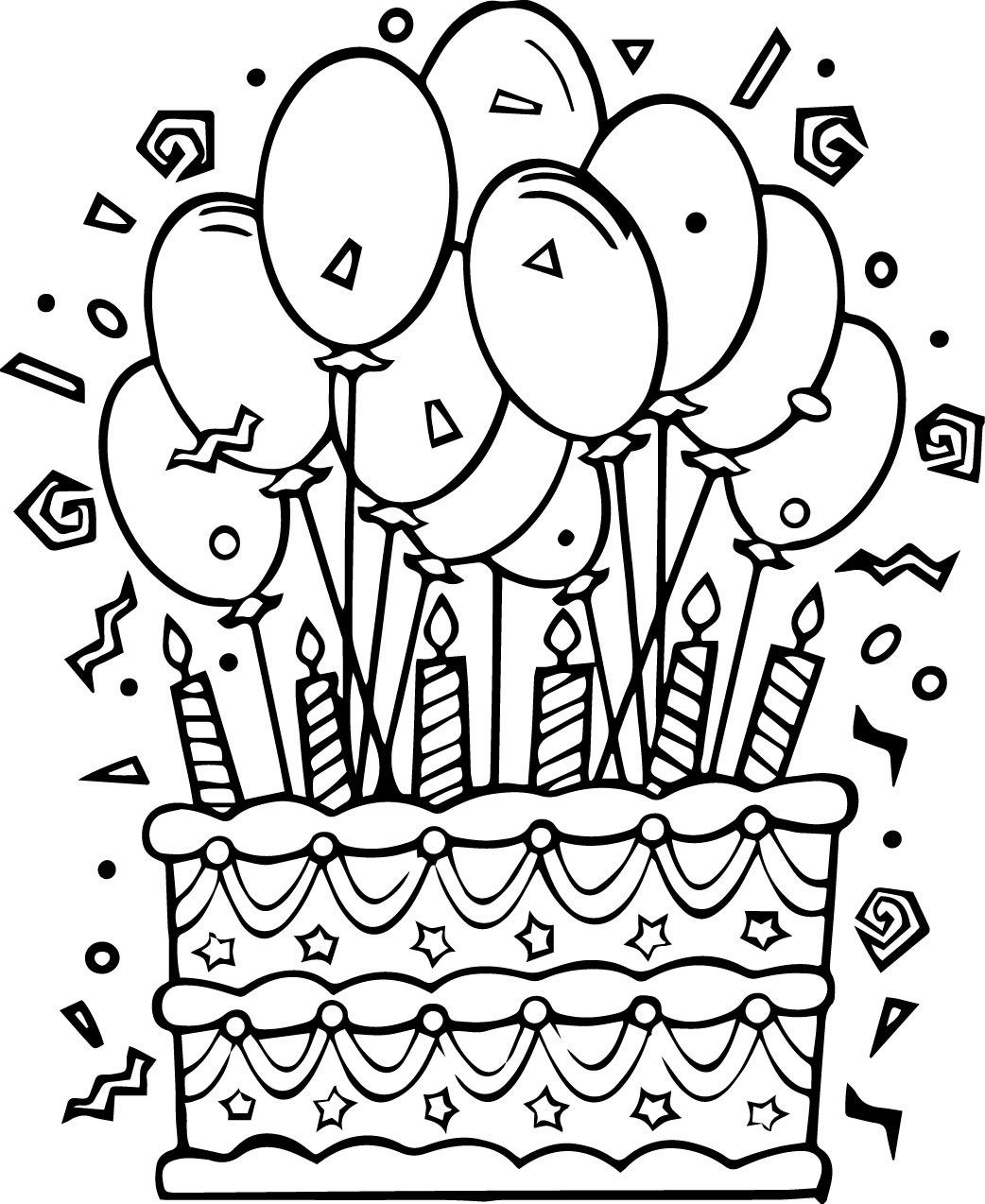 Birthday Cake Coloring Page With No Candles Pages For Kindergarten