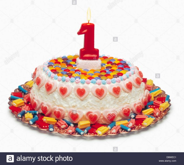 Birthday Cake For 1 Year Old 1 Year Old Birthday Cake Stock Photo 57108465 Alamy