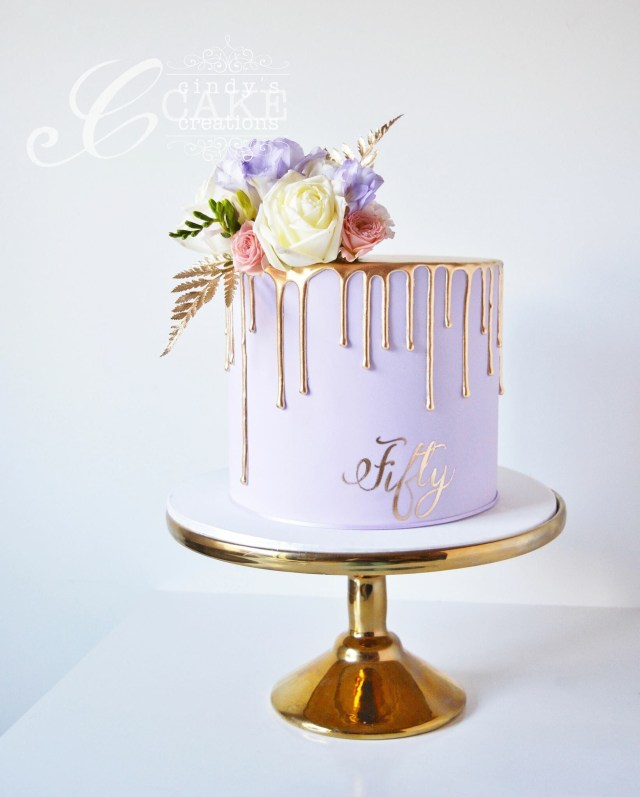 Birthday Cake For Her Gold Drip Cake 50th Birthday Cake Cakesthetics Pinterest