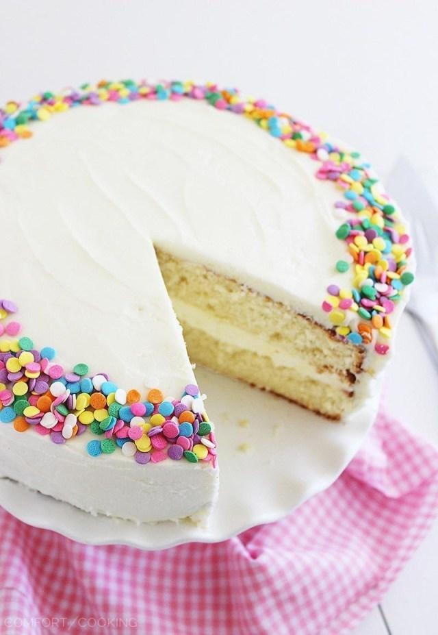 Birthday Cake Icing Recipe Yellow Birthday Cake With Vanilla Frosting