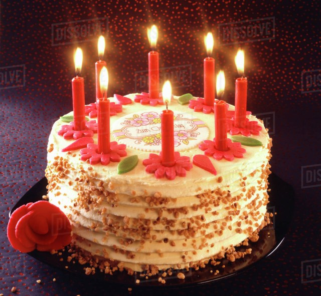 Birthday Cake Images With Candles Birthday Cake With Burning Candles Stock Photo Dissolve