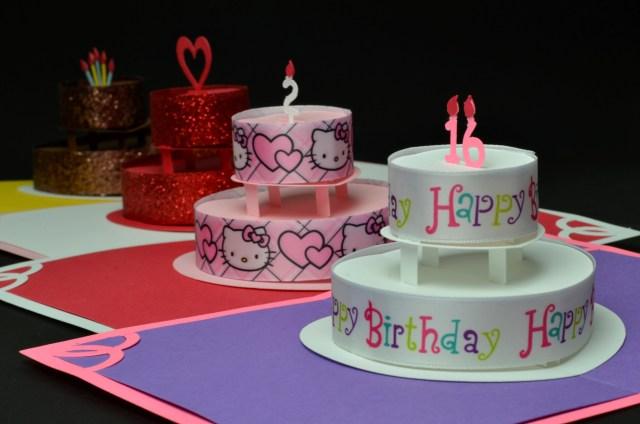 Birthday Cake Pop Birthday Or Wedding Cake Pop Up Card Template Creative Pop Up Cards