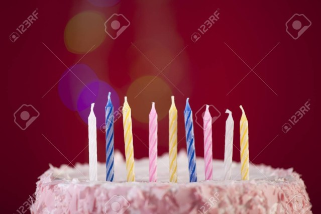Birthday Cake Shot Happy Birthday Cake Shot On A Red Background With Candles Stock