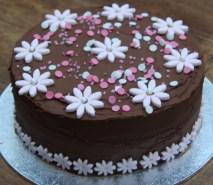 Birthday Cake With Flowers Chocolate And Pink Flower Birthday Cake Lovinghomemade