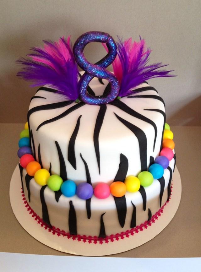 Birthday Cakes For 8 Years Old Girl Zebra Birthday Cake Zebra Cake For An 8 Year Old Fondant Covered