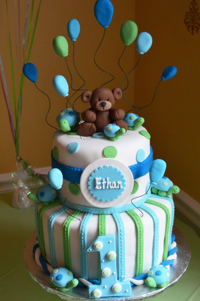 Boys 1St Birthday Cake Designs Boy 1st Birthday Cake Blue And Green Bears And Turtles Julie