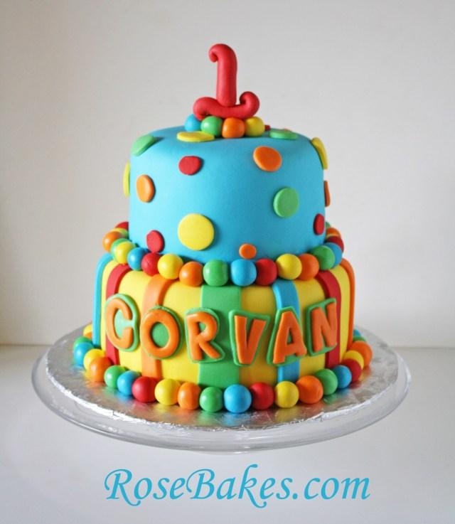 Boys 1St Birthday Cake Designs Bright Stripes Polka Dots 1st Birthday Cake