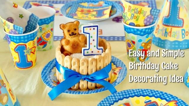 Boys 1St Birthday Cake Designs Happy 1st Birthday Easy And Kawaii Birthday Cake Decorating Idea