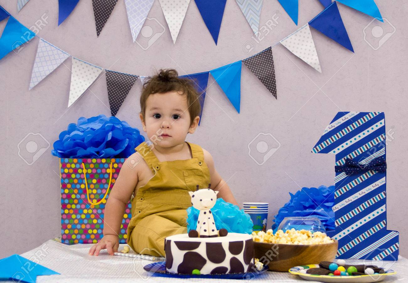 Boys First Birthday Cake Infant Smash Adorable Smashing Stock