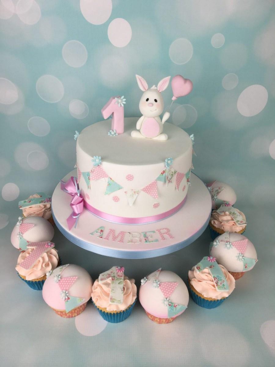 Bunny Birthday Cake Bunny And Bunting 1st Birthday Cake Mels Amazing Cakes