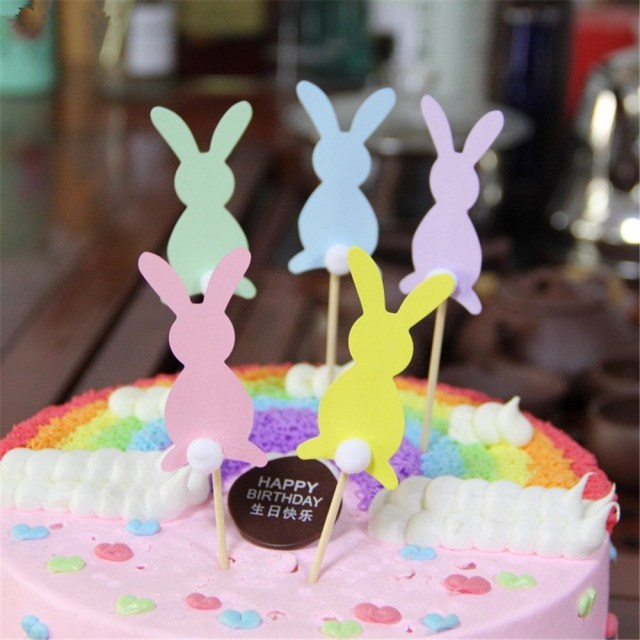 Bunny Birthday Cake Crley 10pcslot Cake Toppers Pink Blue Green Bunny Birthday Cakes