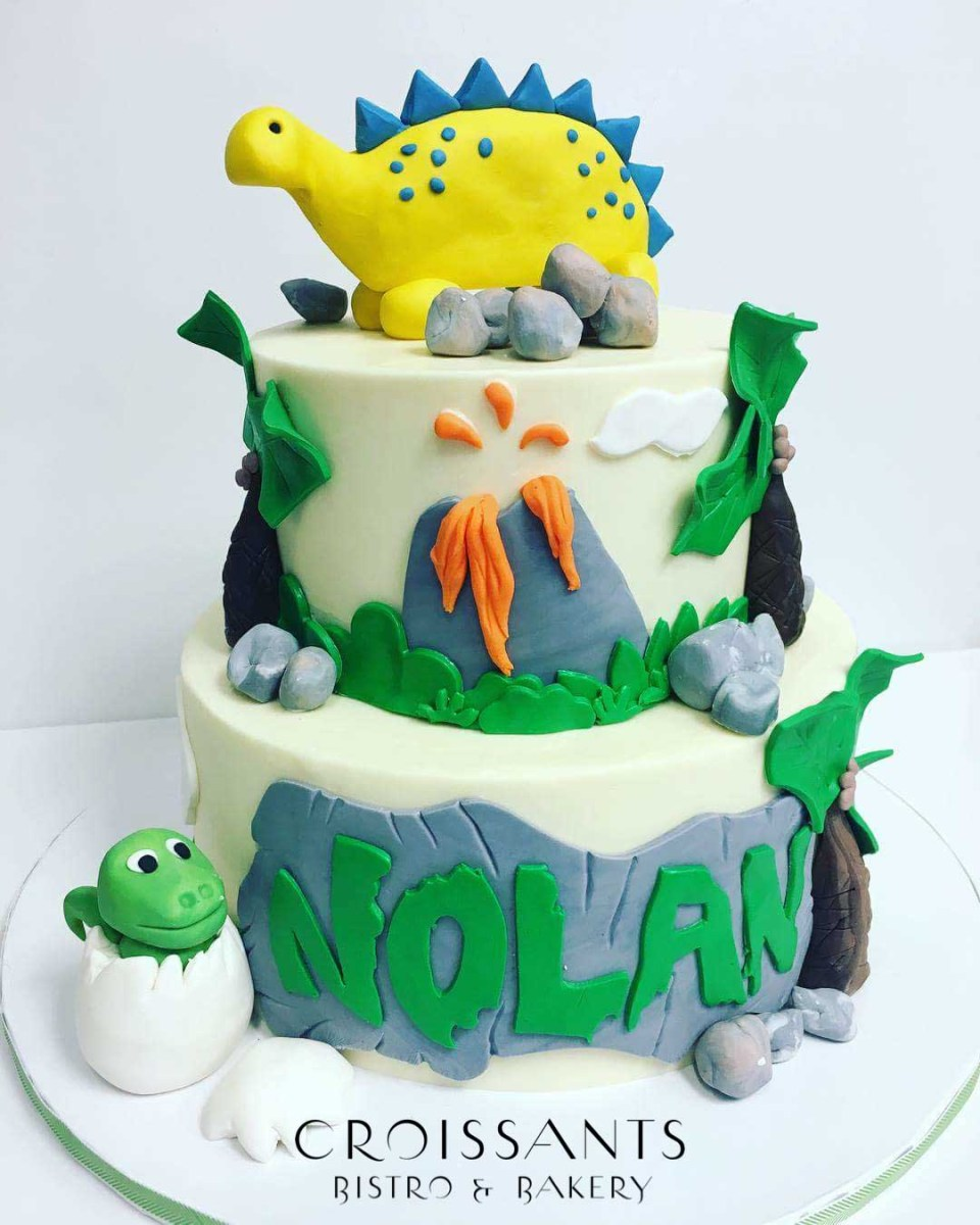 Dinosaur Birthday Cakes 2 Tier Dinosaur Birthday Cake Croissants Myrtle Beach Bistro Bakery