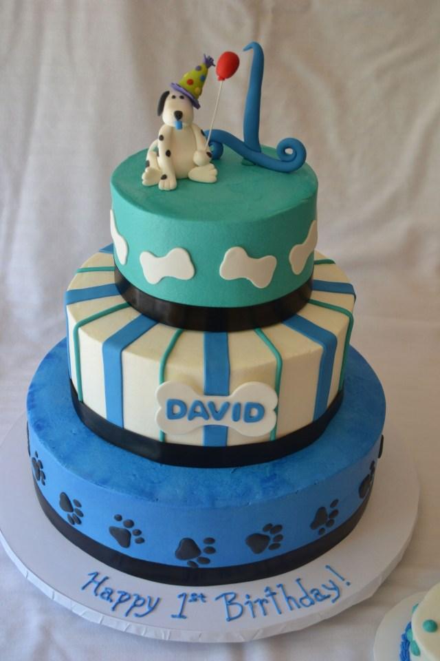 Dog Themed Birthday Cake 1st Birthday Cake Puppy Dog Theme Buttercream Icing With Fondant