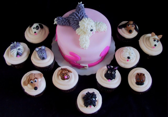 Dog Themed Birthday Cake Fondant Dog Themed Birthday Cake And Cupcakes Danville Ky The
