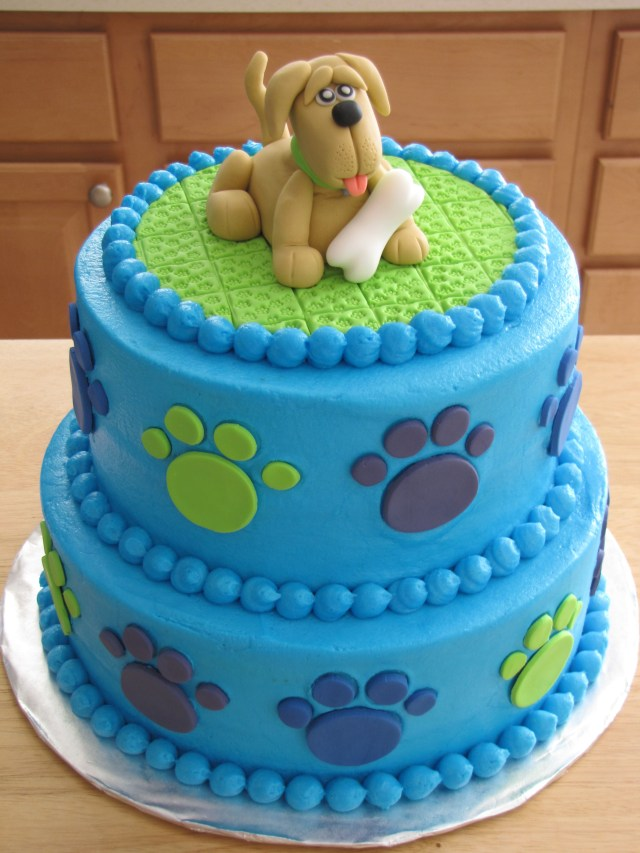 Dog Themed Birthday Cake Puppy Birthday Buttercream Covered Cake With Fondant Puppy Topper