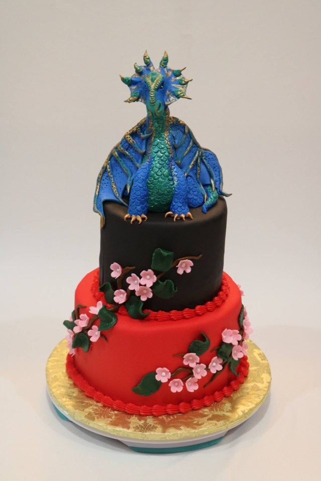 Dragon Birthday Cake Dragon Birthday Cake With Fondant Cherry Blossoms Rexburg Cakes