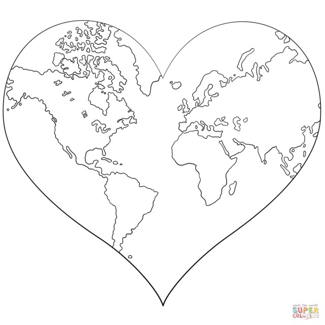 Earth Coloring Pages Heart Shaped Earth Coloring Page Free Printable Coloring Pages