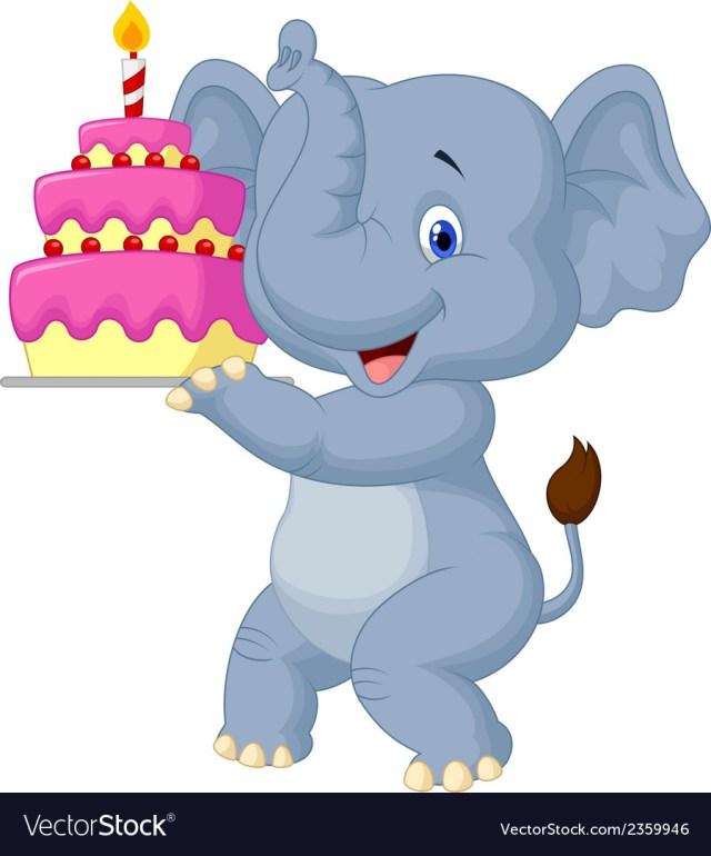 Elephant Birthday Cakes Elephant Cartoon With Birthday Cake Royalty Free Vector