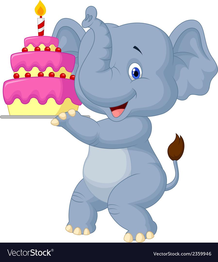Elephant Birthday Cakes Cartoon With Cake Royalty Free Vector