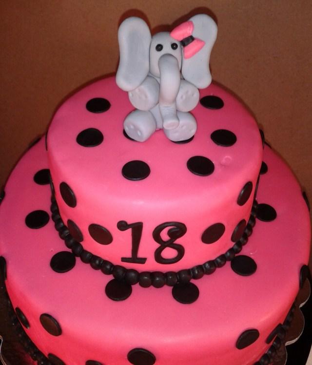 Elephant Birthday Cakes Polka Dot 18th Birthday Elephant Cake Cakecentral