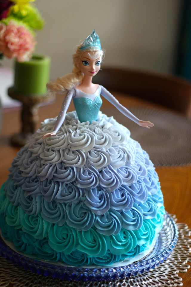 Elsa Birthday Cake Disneys Frozen Elsa Doll Cake Made With An Ombre Rosette Skirt For